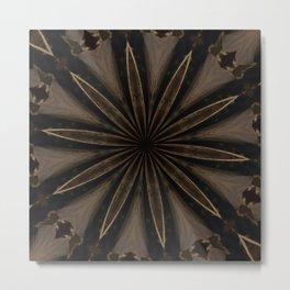 Rustic Brown Kaleidoscope Flower Metal Print