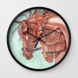 Horses On Fuchsite Moon Wall Clock