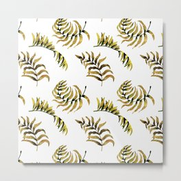 Exotic Gold Palm Leaves Pattern Metal Print