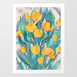 Blooming Golden Tulips in Gouache Art Print