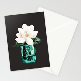 Magnolia in a glass jar with black background Stationery Cards