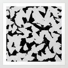 Black Bird Wings on Grey Art Print