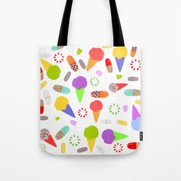 Ice Cream, Candy, and Pills Tote Bag