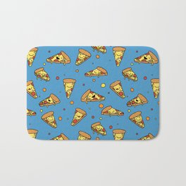 Cute Happy Smiling Pizza Pattern on blue background Bath Mat