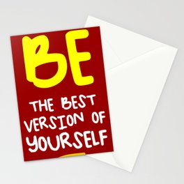 Be the best version of yourself, red, yellow Stationery Cards