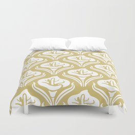 Calla Lily Pattern Gold Duvet Cover