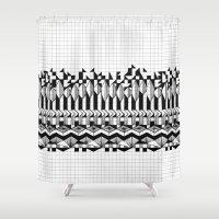 notebook Shower Curtains featuring School notebook 2 by Eva Bellanger