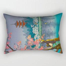 Tsuchiya Koitsu Cherry Blossom Pagoda Woman In Kimono Lake At Twilight Rectangular Pillow