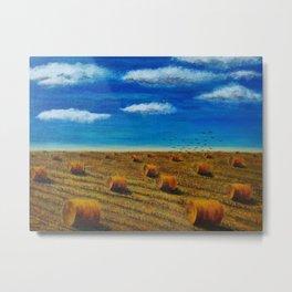 Autumn field, golden straw bales. Metal Print