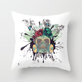 Green Gas Mask with Roses Throw Pillow