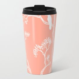 Crow in a tree peach color Travel Mug