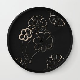 Light Sepia Flower Pattern #1 #drawing #decor #art #society6 Wall Clock