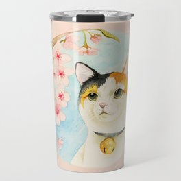 """Hanami"" - Calico Cat and Cherry Blossom Travel Mug"