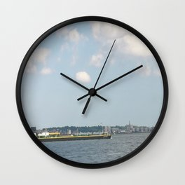 Freighter on NY river Wall Clock