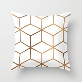 White and Gold - Geometric Cube Design Throw Pillow