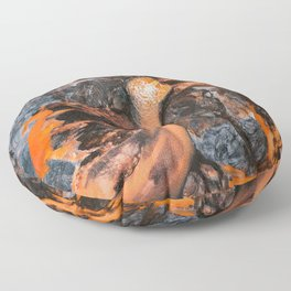Abstract Painting - Volcano Eruption Aerial Floor Pillow