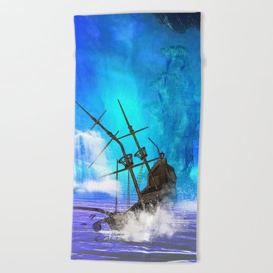 Shipwreck  Beach Towel