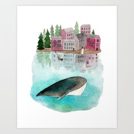 A whale is passing by Art Print