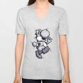 Yoshi Handmade Drawing, Games Art, Super Mario, Nintendo Art Unisex V-Neck