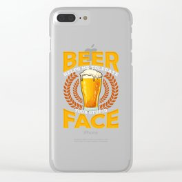 Beer Helps Me Tolerate Your Stupid Face Funny Beer Clear iPhone Case