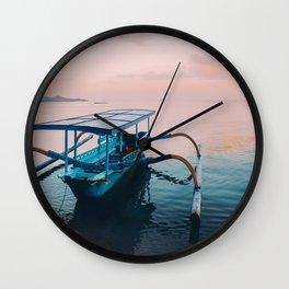 Indonesian boat at dawn Wall Clock