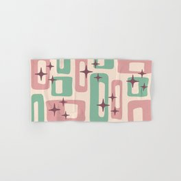 Retro Mid Century Modern Abstract Pattern 222 Dusty Rose and Pastel Green Hand & Bath Towel