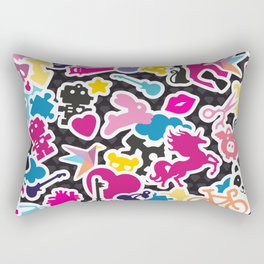 Sticker Frenzy Rectangular Pillow