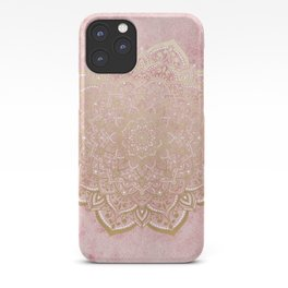 MOON DANCE MANDALA IN GOLD AND PINK iPhone Case