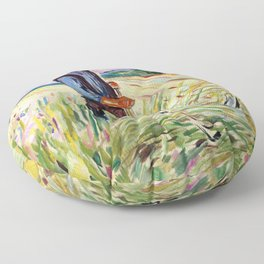 The Haymaker by Edvard Munch Floor Pillow
