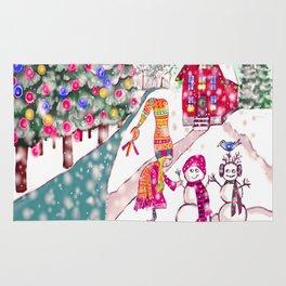 Merry Christmas Snowgirl Rug