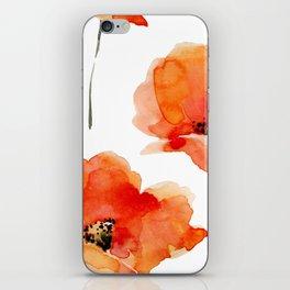 Modern hand painted orange watercolor poppies pattern iPhone Skin
