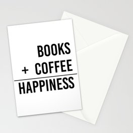 Books + Coffee = Happiness - Typography Stationery Cards