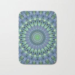 Mandala in light green and blue colors Bath Mat