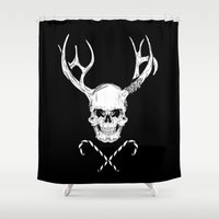 xmas Shower Curtains featuring Creepy Xmas by Evgenia Chuvardina