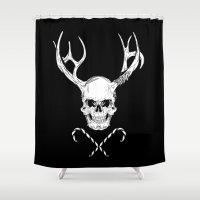 creepy Shower Curtains featuring Creepy Xmas by Evgenia Chuvardina