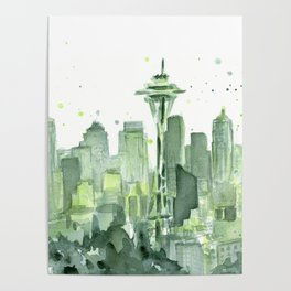 Seattle Watercolor Painting Poster