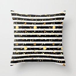 Stripes & Gold Splatter - Horizontal Throw Pillow