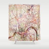cincinnati Shower Curtains featuring Cincinnati by MapMapMaps.Watercolors