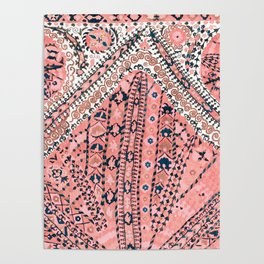 Light Pink Wildflower Sunshine III // 18th Century Colorful Pinkish Dusty Blue Gray Positive Pattern Poster