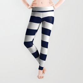 Nautical Navy Blue and White Stripes Leggings