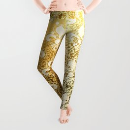 Brocade Gold Fleur de Lis Background Leggings
