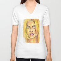 bad wolf V-neck T-shirts featuring Bad Wolf by JenHoney