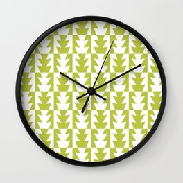 Art Deco Jagged Edge Pattern Chartreuse Wall Clock