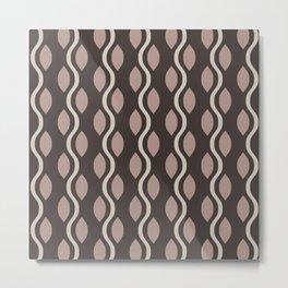 Retro Ogee Pattern 446 Beige Metal Print