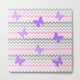 Pink Grey Ombre Chevron with Purple Butterflies Metal Print
