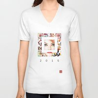 emma stone V-neck T-shirts featuring emma qr square'd by David Mark Lane