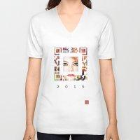 emma stone V-neck T-shirts featuring emma qr square'd by David Mark Lane