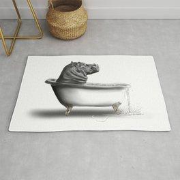 Hippo in Bath Rug