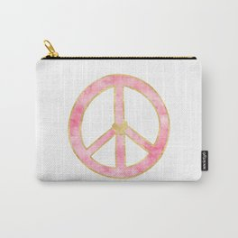 Pink Gold Peace Sign with Heart Carry-All Pouch
