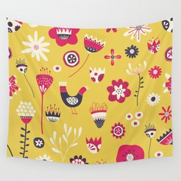 Scandi Floral Yellow Wall Tapestry